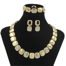 2017 dubai exotic gold silver high quality crystal jewelry sets china retail wedding party jewelry accessories
