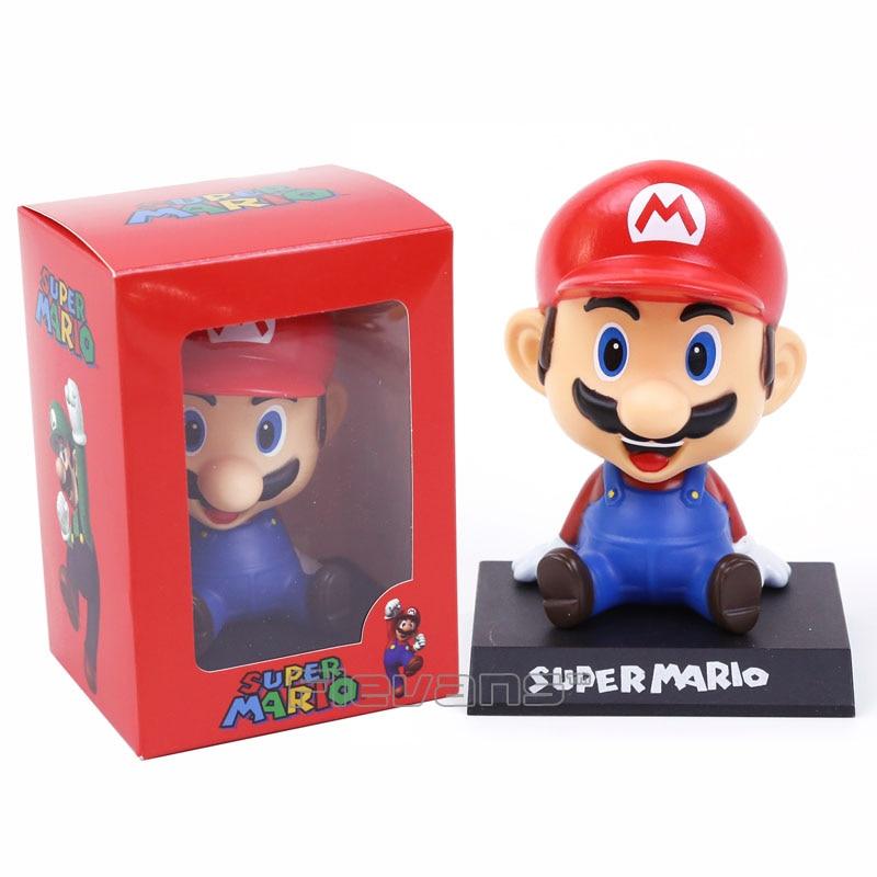Super Mario Brother Mario Luigi Bobble Head  PVC Figure Toy Doll Car Ornament 2 Styles<br><br>Aliexpress