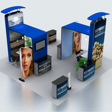 20ft portable Tension fabric trade show display pop up stand booth system kits with TV mount(China)