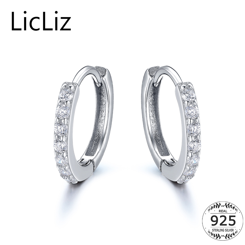 Sterling Silver Round Hoop Earrings CZ Pave Cubic Zirconia Gift