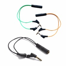 3.5mm 2 in 1 Double Holes Audio Cables For Phone Headset Computer Microphone Combo Conversion Head Adapter Cable Audio Splitter(China)