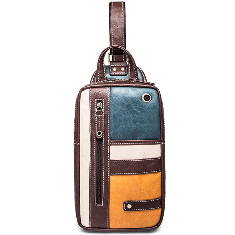 Retro panelled designer men chest bags with earphone hole famous high quality vintage patchwork leather crossbody chest pack<br><br>Aliexpress