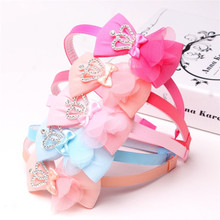 5PCS Mix Color 10mm Girl Hair Clasp with Large Satin Ribbon Bow Plastic Headband Crown Headdress DIY Headwear Accessories(China)