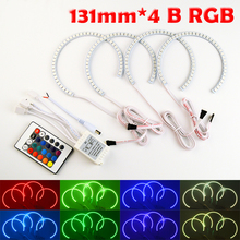4x131mm B RGB LED Angel Eyes Headlight Multi-color with Halo Ring Remote Control fit for BMW E36 E39 E46 E60 E92