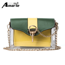 Amarte Women Crossbody Bags for Girls Ladies Bag Leather Handbags Luxury Brand Women Small Shoulder Bags New Fashion Clear