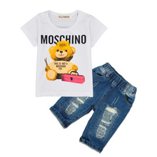 2017 Children Cartoon Bear White T Shirt Ripped Denim Shorts 2 Pieces Girls Casual Summer Boys Clothing Sets