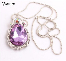 Vcmart 1Pcs Sophia Necklace Princess Sofia The First Chain Necklace Stainless Steel with Purple Teardrop Amulet Pendant