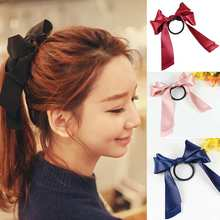 New Year Womens Sweet Elastic Ribbon Bow Band Hair Rope Satin Scrunchie Ponytail Holder