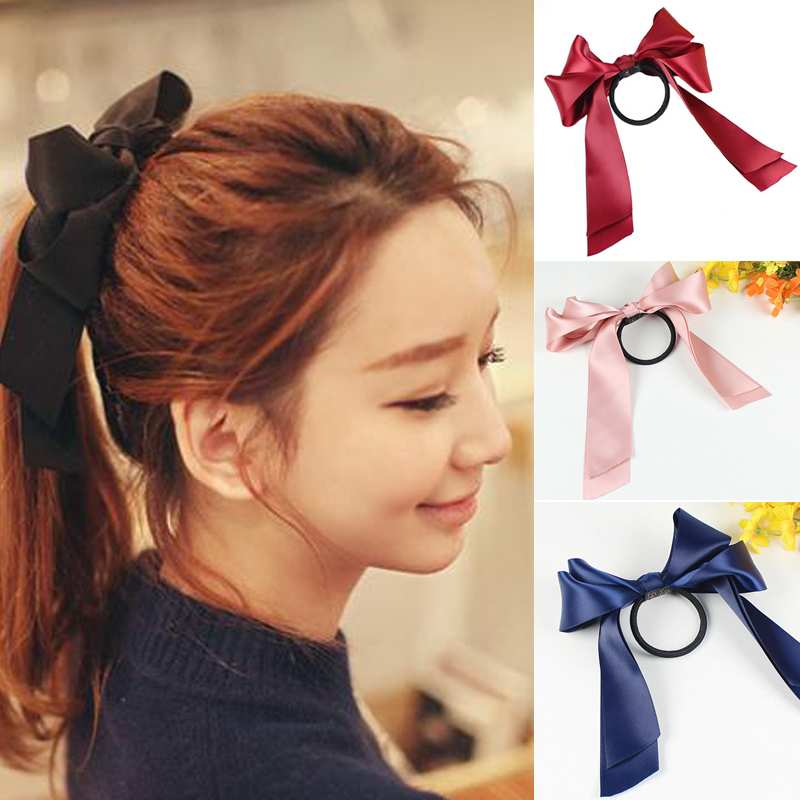 New Year Womens Sweet Elastic Ribbon Bow Band Hair Rope Satin Scrunchie Ponytail Holder(China (Mainland))