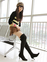 Airfour new U.S. 4-10.5 large wholesale free shipping sexy knee boots suede pointed high heels pumps shoes