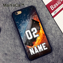 MaiYaCa PERSONALIZED NUMBER NAME Hockey Rubber Mobile Phone Cases Accessories For iPhone 6 6S Plus 7 7 Plus 5 5S SE Cover Shell(China)