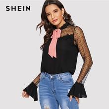 SHEIN negro contraste cuello Collar de malla de punto campana manga blusa  de primavera mujer moderna para mujeres 5616e55a6aa