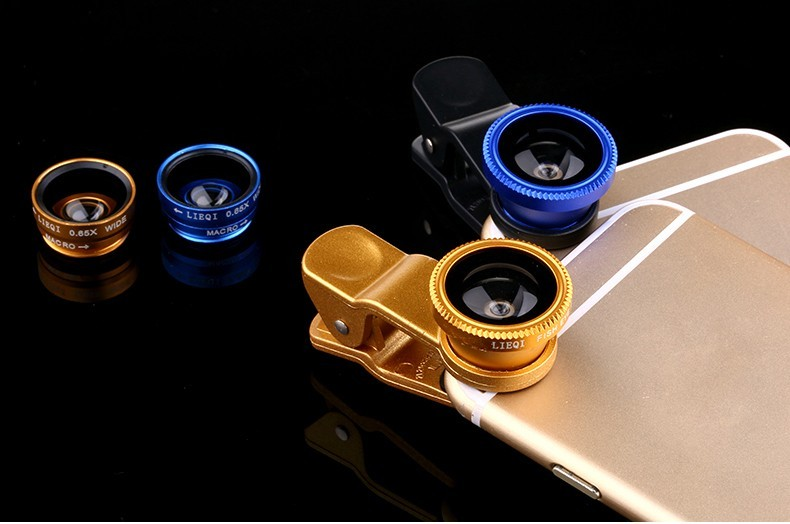 Fisheye Lens 3 in 1 mobile phone clip lenses fish eye wide angle macro camera lens for iphone 6 6s plus 7/7 plus xiaomi huawei 10