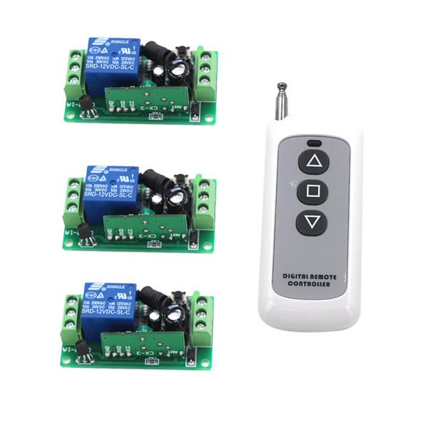 315MHz 10A Relay DC 12V 1CH Wireless RF Remote Control Switch 1 Transmitter + 3 Receiver Working Modes Self-locking SKU: 5339<br><br>Aliexpress