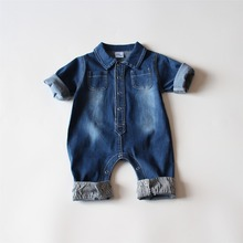 4pcs/lot Fashion Boys Denim Jumpsuits Kids Long Sleeve Baby Rompers Toddler Girl Clothing Infant Girl Jumpsuit(China)