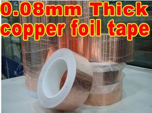 1 Roll 35mm*30M *0.08mm Thickness One Side Adhesive Conductive Copper Foil Tape, Component Mounting, Accept Customize Width Cut<br>