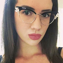 CCSPACE Lady Cat Eye Shiny Rhinestones Glasses Frames For Women Brand Designer Optical EyeGlasses Fashion Eyewear 45120(China)