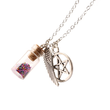 Silver Chain Colors beads Sand Glass Wishing Bottle and Alloy Accessory Necklaces & Pendants For Women Fashion Jewelry NW2214(China)