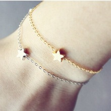 Pameng New Fashion   Simple Silver Color Chains Luck Star Bracelets For Women Jewelry S0005 Gold Color