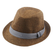 Fashion Boys Girls Fedora Trilby Gangster Cap Kids Summer Beach Sunhat Infant Straw Panama Hat with Band QRD012