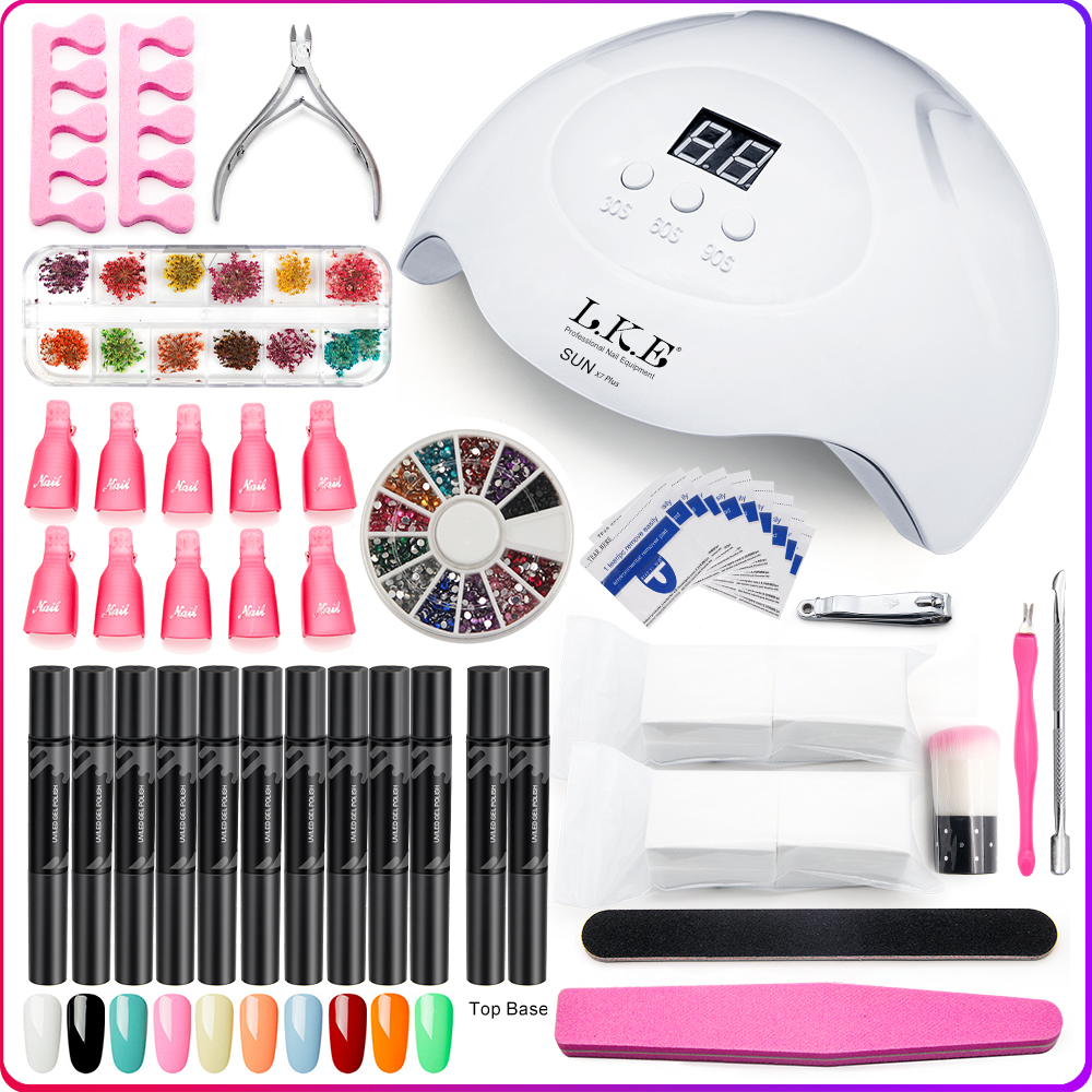 LKE Manicure Set For Beginner/'s 12pcs Semi-permanant Nail Gel Pen Manicure Set 15 LEDs Nail lamp Nail Set Tools For Manicure
