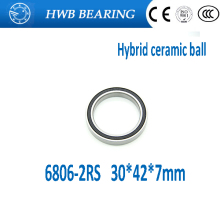 free shipping 2PCS 6806 61806 2RS Si3N4 Ceramic Ball Bearing Rubber Sealed BB30 Hubs 6806-2RS 30x42x7mm