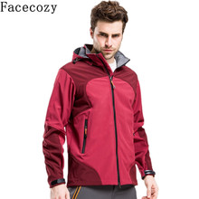 Facecozy Mens Winter Outdoor Hooded Patchwork Camping&Hiking Softshell Jacket Windproof Thermal Climbing&Trekking&Fishing Coat