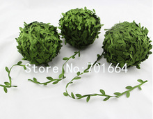 20Meters Green Fabric Leaf trimming Webbing for decorated Headbands Garland jewelry finding wedding headpieces