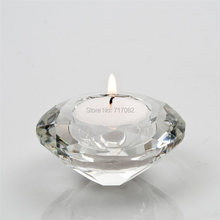 Free Shipping! Crystal Candle Holder, tealight candle holders, glass Tea Light Candlestick for wedding decor, home centerpieces(China)