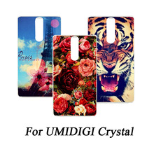 For UMIDIGI Crystal Cover Print Flower Blue butterfly Eiffel Tower Tiger painted DIY Cell Phone Cover For UMIDIGI Crystal Case(China)