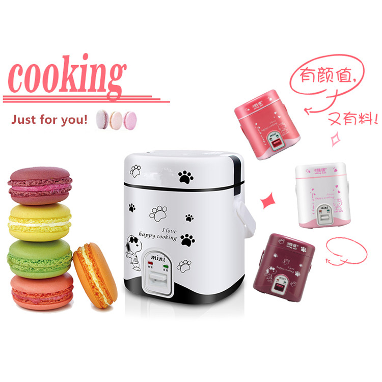 Free Shipping Super mini rice cooker 200W 1.2L capacity mini rice cooker suit 1-2 people stew soup heat lunch box cooking tools<br>
