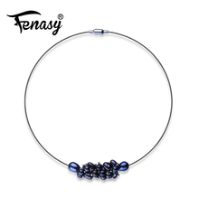 FENASY choker necklace pearl Necklace fashion Design genuine Pearl jewelry new black white vintage Pearl necklaces & pendants(China)