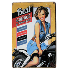 SERVICE for MOTORCYCLE Tin Plaque Vintage Board motorcar and lady in blue dress gear repair for gas station LJ2-11 20x30cm A1(China)