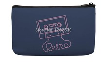 Navy Blue Pink Love Tape Pattern Print Custom Small Cosmetic Bag Wristlet hand bag