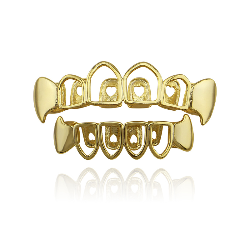 Factory Bottom Price Hollow Grillz Fashion Body Jewelry Hip Hop Teeth Grillz Gold Rose Gold Black Silver Color Tooth Grills Cap UK Bijoux (4)