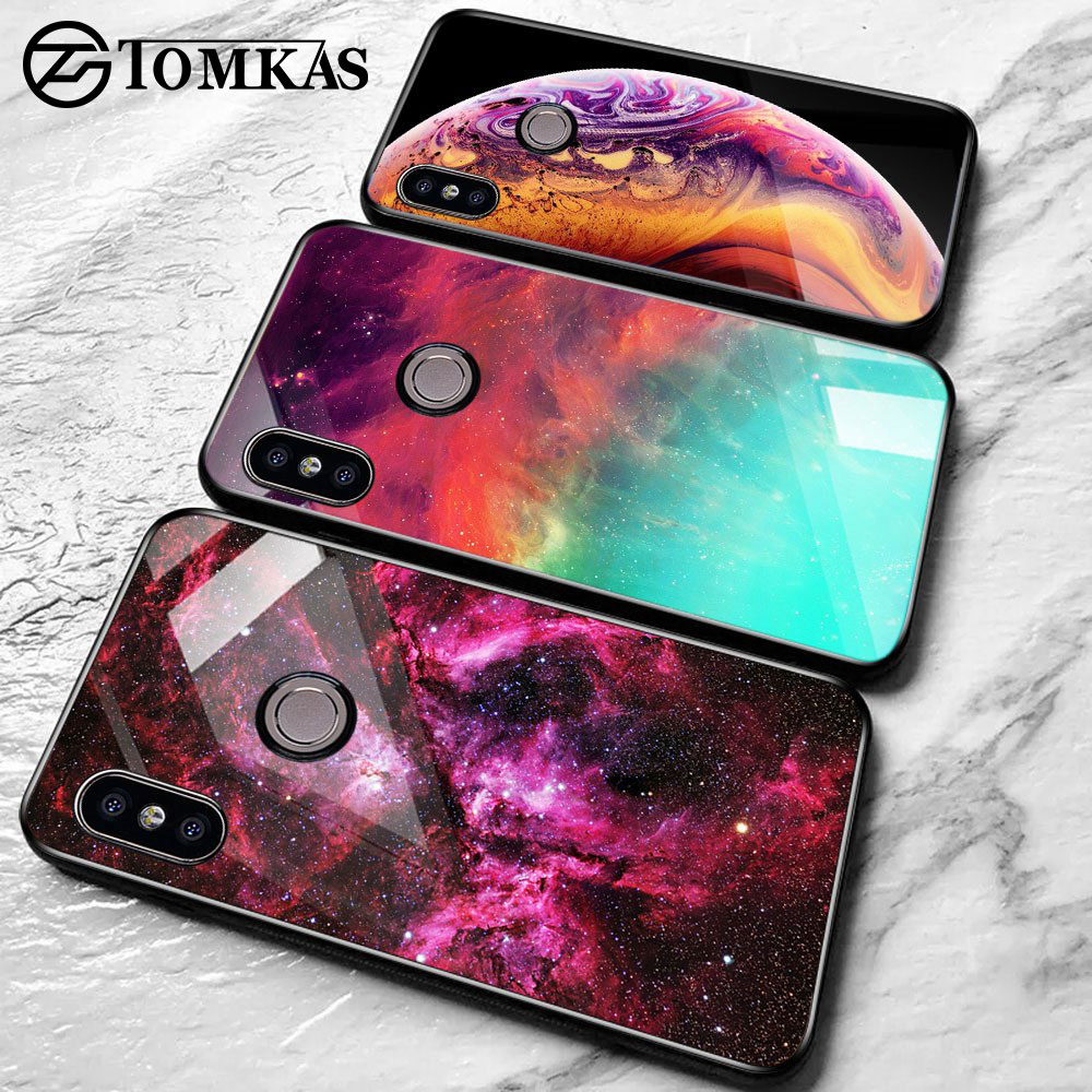 TOMKAS Space Glass Case for Xiaomi Redmi Note 5 6 Pro Cases for Pocophone F1 Silicone Cover Case for Xiaomi Redmi 4X Mi A2 Lite (China)