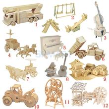 3D Wooden Puzzles Woodcraft Construction Kit Moving Model Kit DIY Puzzles Kids Educational Toys(China)