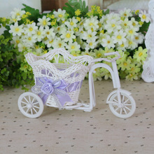 Rattan Tricycle Bike Flower Basket Container Vase Storage bag Garden Wedding Party Decor Office Bedroom Holding Candy box Gift
