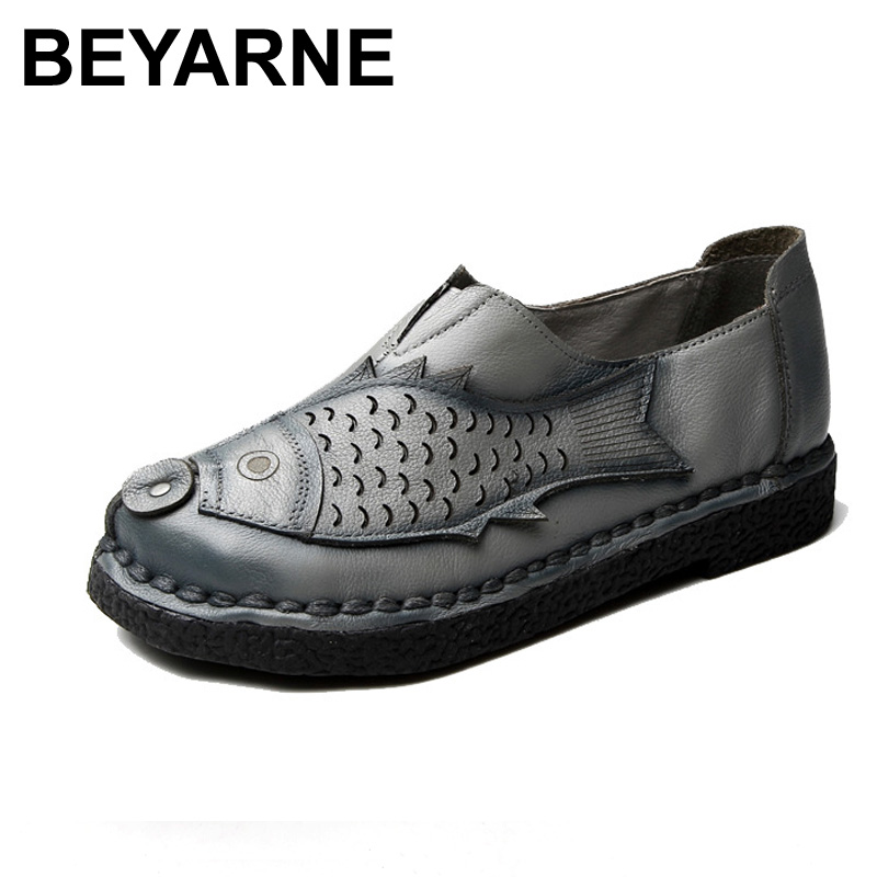 BEYARNE Genuine Leather Flat Shoe Loafers Female Solid Comfortable Casual Shoes Soft Real Leather Handmade Women Flats Shoe<br>