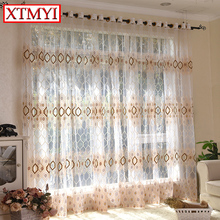 Modern tulle curtains for living room Brown\blue bedroom voile window curtains Drapes Custom Made(China)