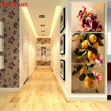 AtFipan 3 Pcs Artist  Canvas Painting Yellow Orange Vertical Forms Wall Pictures for Living Room Good Quality Modular Pictures
