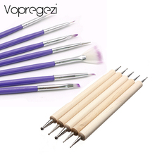 Vopregezi 7pcs Professional Nail Brushes Painting Nail Art Design Brush Pen Manicure 5pcs Polish Dotting Pens Nail Decorations(China)