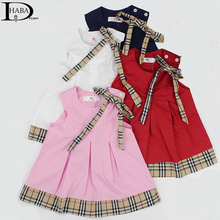 Pure cotton 4 colors 0-5years Baby dress birthday party girls dress plaid newborn baby clothing toddler clothes casual vestidos