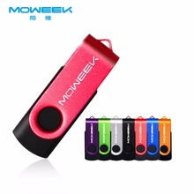 Moweek M02 Swiveling USB Flash Drive 2017 new cle USB memory Stick 128G 64G 32G 16G 8G 4G Metal pen drive usb 2.0 Disk for gift(China)