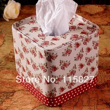 Free Shipping! Rose flower design Tissue Box Vintage Metal Facial Paper Case Napkin Holder Noble Style Square Shape Home Storage(China)