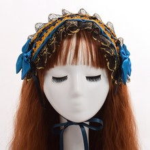 Sweet Style Women Lolita Lace Bows Headband Red/Black/Blue Ribbon Lace-up Hair band(China)
