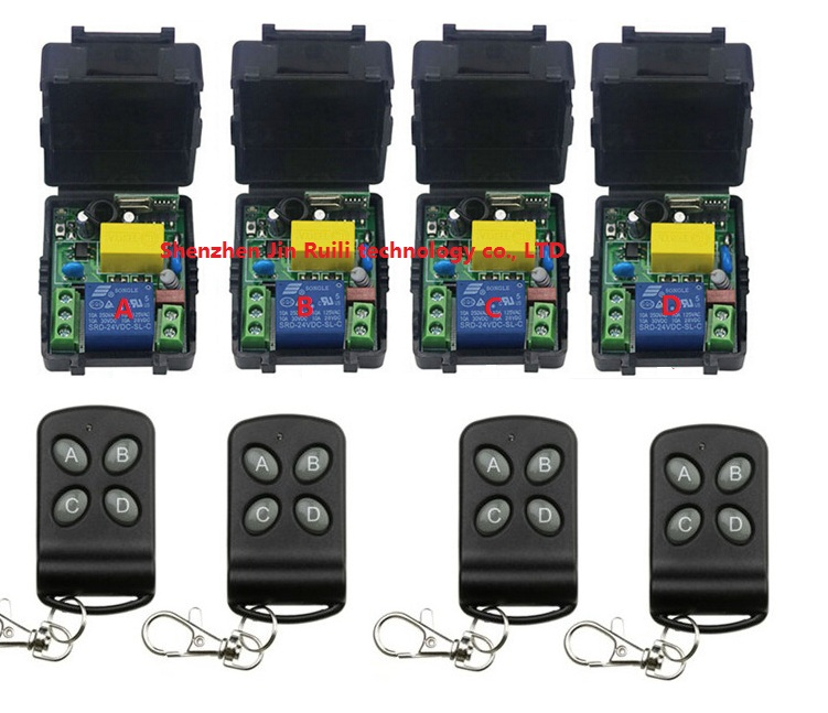 New AC220V 1CH Radio Controller RF Wireless Relay Remote Control Switch four Transmitter + (4) Receiver --JRL220V-19<br>