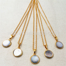 WT-N826 Wholesale 2017 Spring New product Natural grey pearl necklace,24k gold color round pearl necklace 15mm
