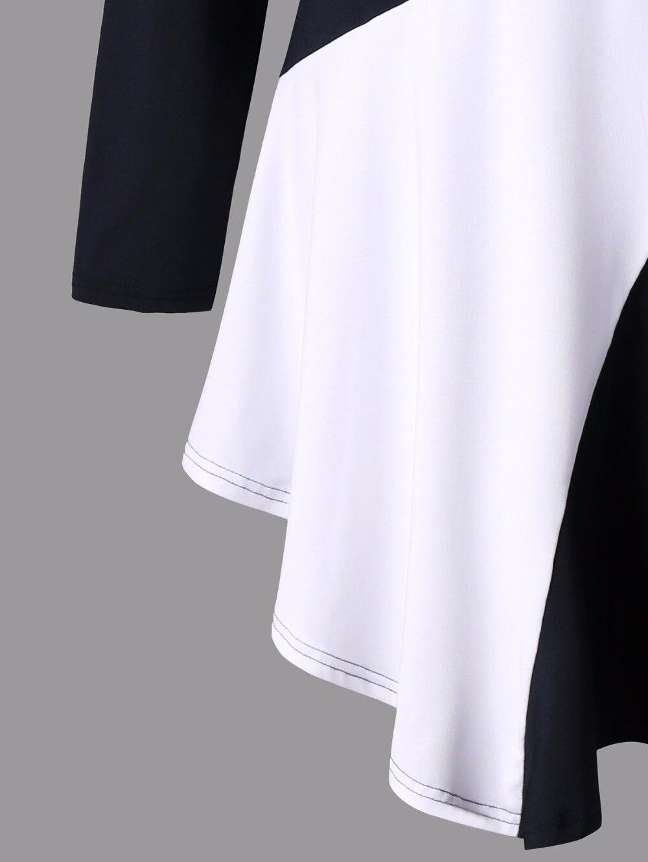 VESTLINDA Plus Size Two Tone Asymmetric Tunic Tee Shirt Women Fashion O Neck Long Sleeves Casual Long T-Shirt Ladies Tops 5XL 10