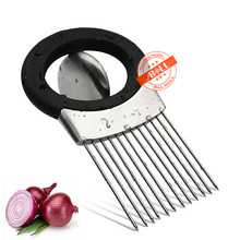 Onion Holder Vegetable Potato Onion Cutter Slicer Gadget Stainless Steel Fork Slicing Helper Kitchen Tool Odor Remover Chopper(China)